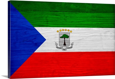 Wood Equatorial Guinea Flag, Flags Of The World Series