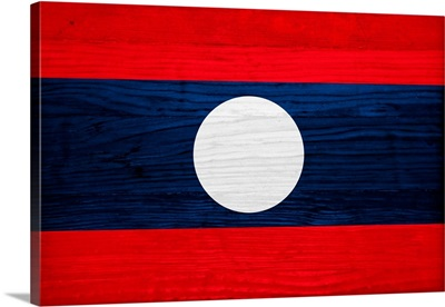Wood Laos Flag, Flags Of The World Series