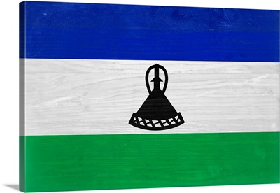 Wood Lesotho Flag, Flags Of The World Series