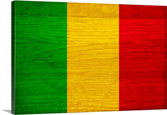 Wood Mali Flag Flags Of The World Series Wall Art Canvas Prints - Mali flags
