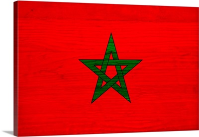 Wood Morocco Flag, Flags Of The World Series