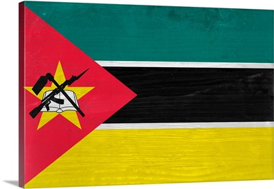 Wood Mozambique Flag, Flags Of The World Series