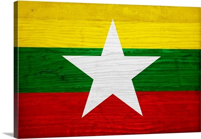 Wood Myanmar Flag, Flags Of The World Series