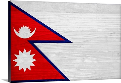 Wood Nepal Flag, Flags Of The World Series