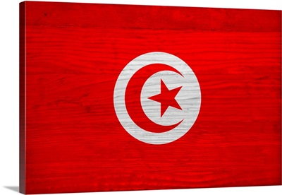 Wood Tunisia Flag, Flags Of The World Series