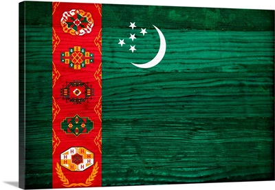 Wood Turkmenistan Flag, Flags Of The World Series