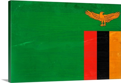 Wood Zambia Flag, Flags Of The World Series