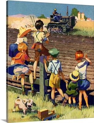 Children Watch Tractor