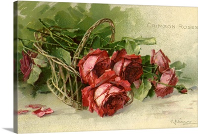 Crimson Roses in a Woven Basket