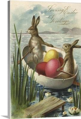 Rabbits row an Eggshell Boat