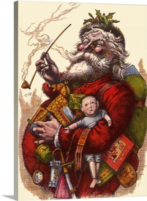 Santa holds Armful of Toys