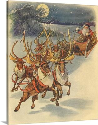 Santa, Reindeer, Moon