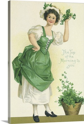 Woman Holding Clover