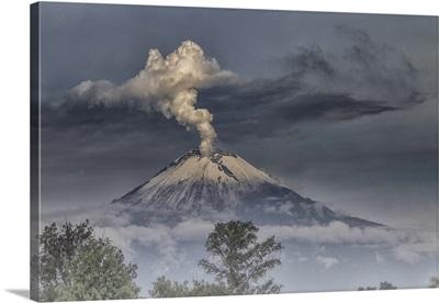 Smoking and Foggy volcano