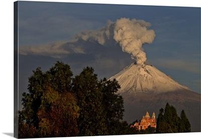 Smoking Colcano and Church
