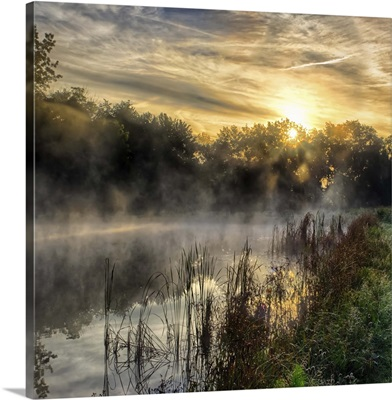 Sunrise Over a Foggy Ohio Pond