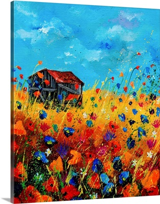 Old Barn And Field Flowers