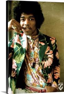 Jimi Hendrix Colored Floral Jacket 1 Wall Art Canvas