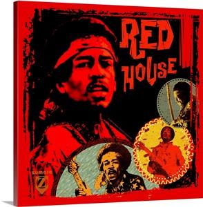 Jimi Hendrix Red House Wall Art Canvas Prints Framed