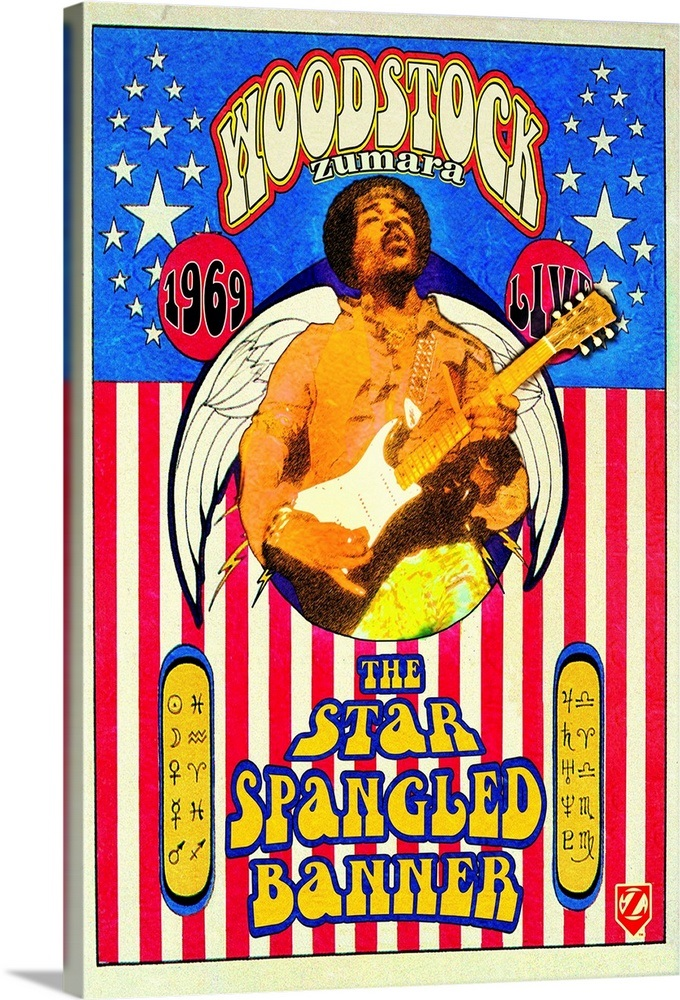 Jimi Hendrix Woodstock Star Spangled Banner Wall Art