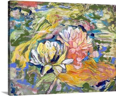 Lily and koi pond abstract