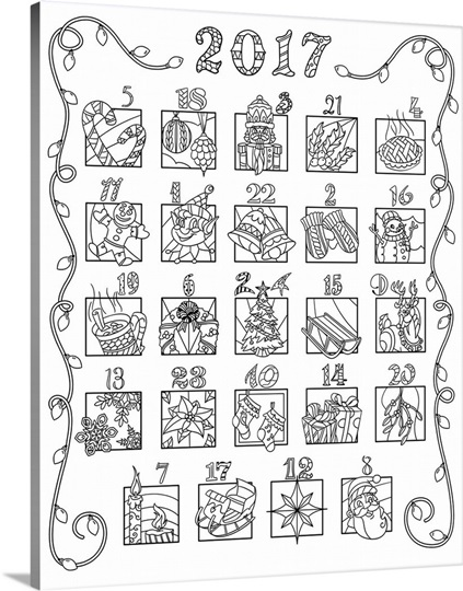 2016 advent coloring calendar mixed numbers photo canvas for Free advent calendar coloring pages