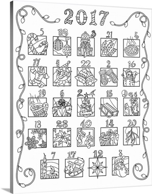 2016 advent coloring calendar mixed numbers wall art for Printable advent coloring pages