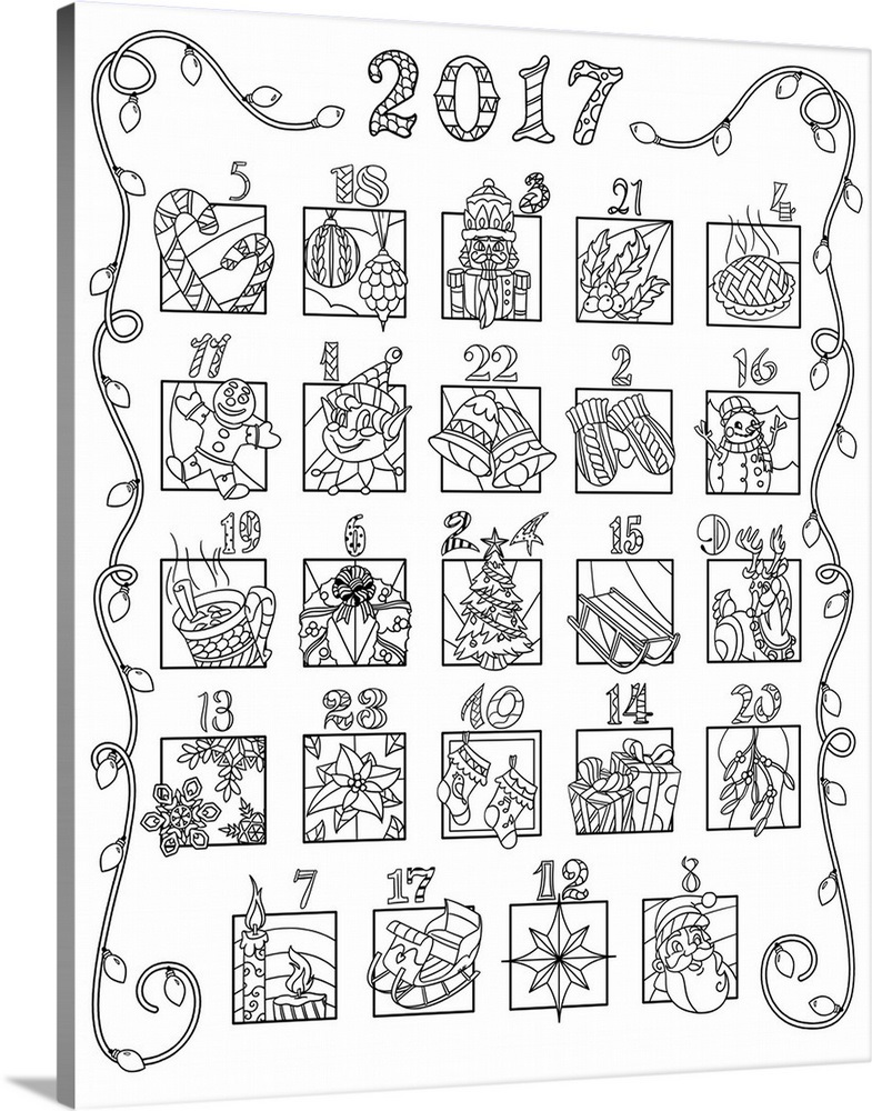 6e0fc82f337 2017 Advent Coloring Calendar - Mixed Numbers Wall Art