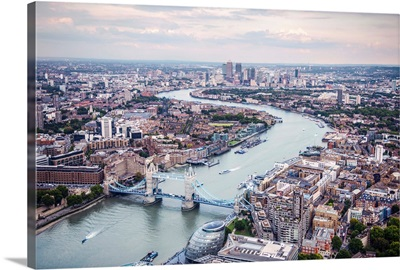 Aerial View Of River Thames And Tower Bridge In London, England