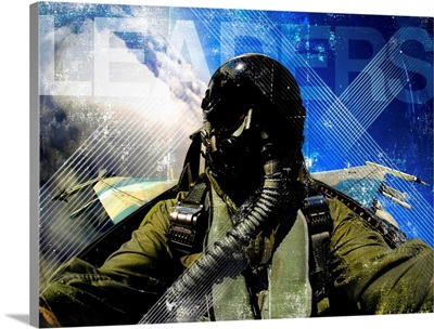 Air Force Grunge Poster: Leaders. U.S. Air Force pilot in an F-16