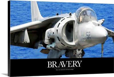 Air Force Poster: An AV-8B Harrier jet lands on the flight deck of USS Peleliu