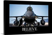 Air Force Poster: U.S. Air Force crew chiefs do pre-flight checks under an F-16