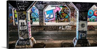 An Artist Paints The Walls Of The Krog Street Tunnel In Atlanta, Georgia