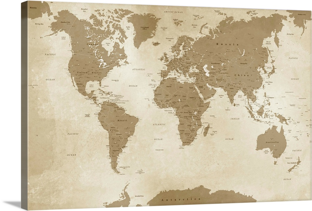Antique Style World Map Wall Art Canvas Prints Framed Prints Wall Peels Great Big Canvas