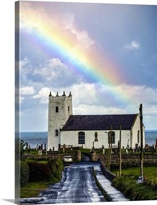 Ballintoy Parish Church with Rainbow, Northern Ireland