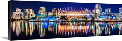 BC Place Stadium and Vancouver Skyline at Night - Panoramic