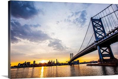 Ben Franklin Bridge in Philadelphia at Sunset