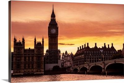 Big Ben and Westminster Bridge At Sunset, London, England