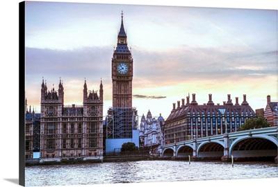 Big Ben and Westminster Bridge In London, England