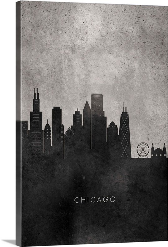 Chicago Skyline Wall Art black and white minimalist chicago skyline wall art, canvas prints