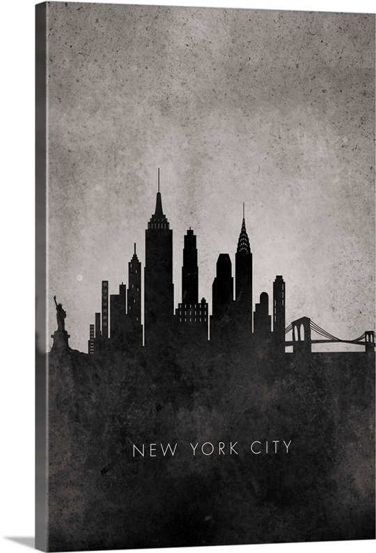New York City Canvas Wall Art black and white minimalist new york city skyline wall art, canvas