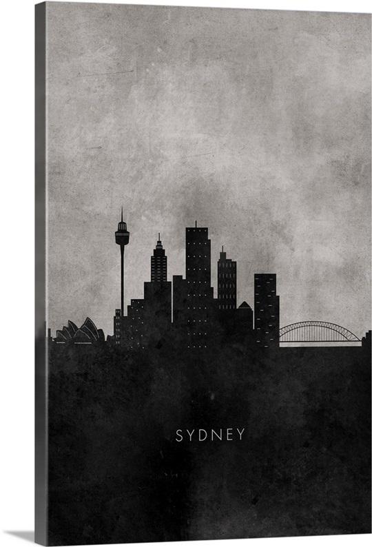 Black and white minimalist sydney skyline
