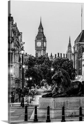 Black and White Trafalgar Square and Big Ben, London, England, UK