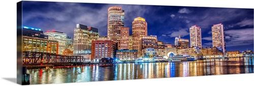 Boston City Skyline At Night Wall Art Canvas Prints Framed Prints Wall Peels Great Big Canvas