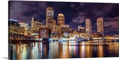 Boston City Skyline at Night