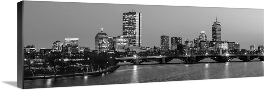 Boston City Skyline At Night Black And White Wall Art Canvas Prints Framed Prints Wall Peels Great Big Canvas