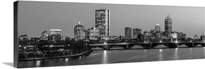 Boston City Skyline at Night, Black and White