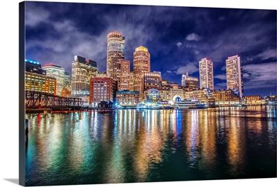 Boston Skyline At Night With Reflecting Lights