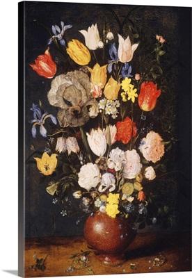 Bouquet Of Flowers In An Earthenware Vase