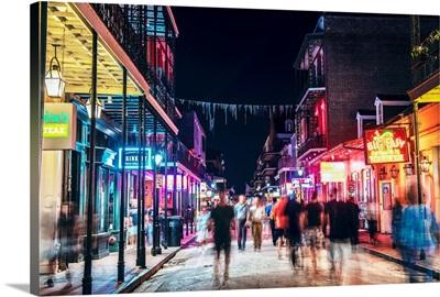 Bourbon Street At Night, New Orleans, Louisiana